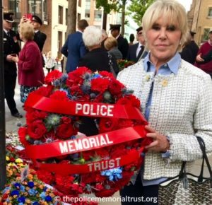 Mrs. Winner with our floral tribute