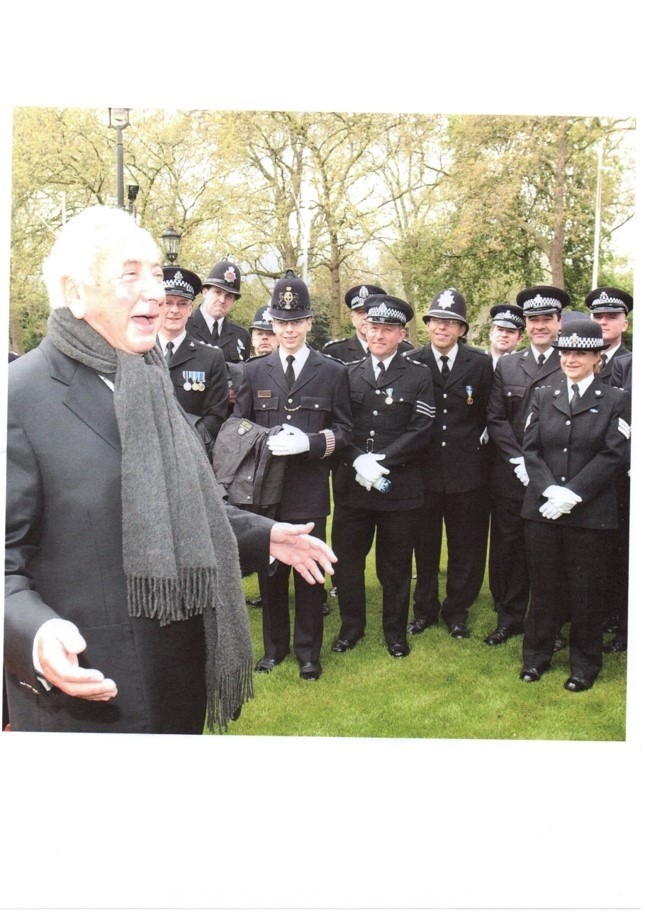 Michael Winner with Police Officers at the National Police Memorial