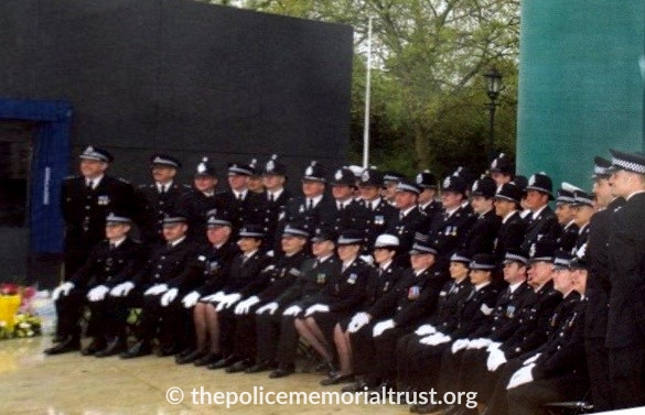 Officers from across the U.K at the official opening of the National Police Memorial