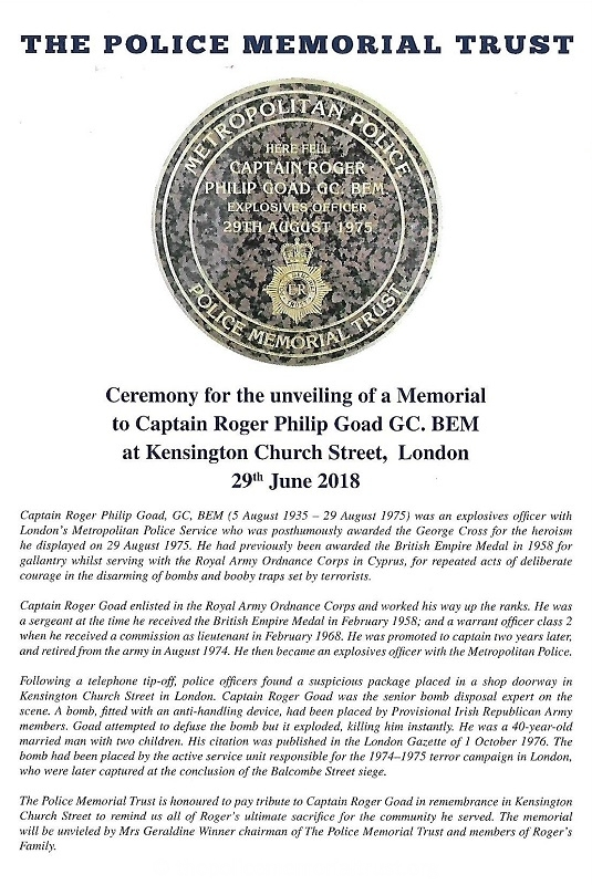 Captain Roger Goad Memorial Programme 1
