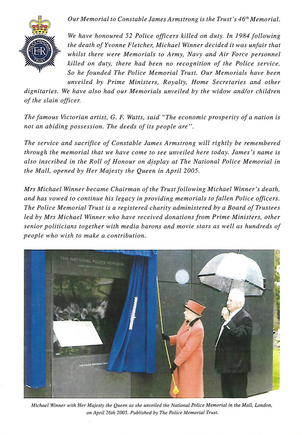 Ceremony for the unveiling of a Memorial to Constable James Armstrong programme 2