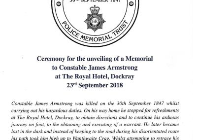 Ceremony for the unveiling of a Memorial to Constable James Armstrong