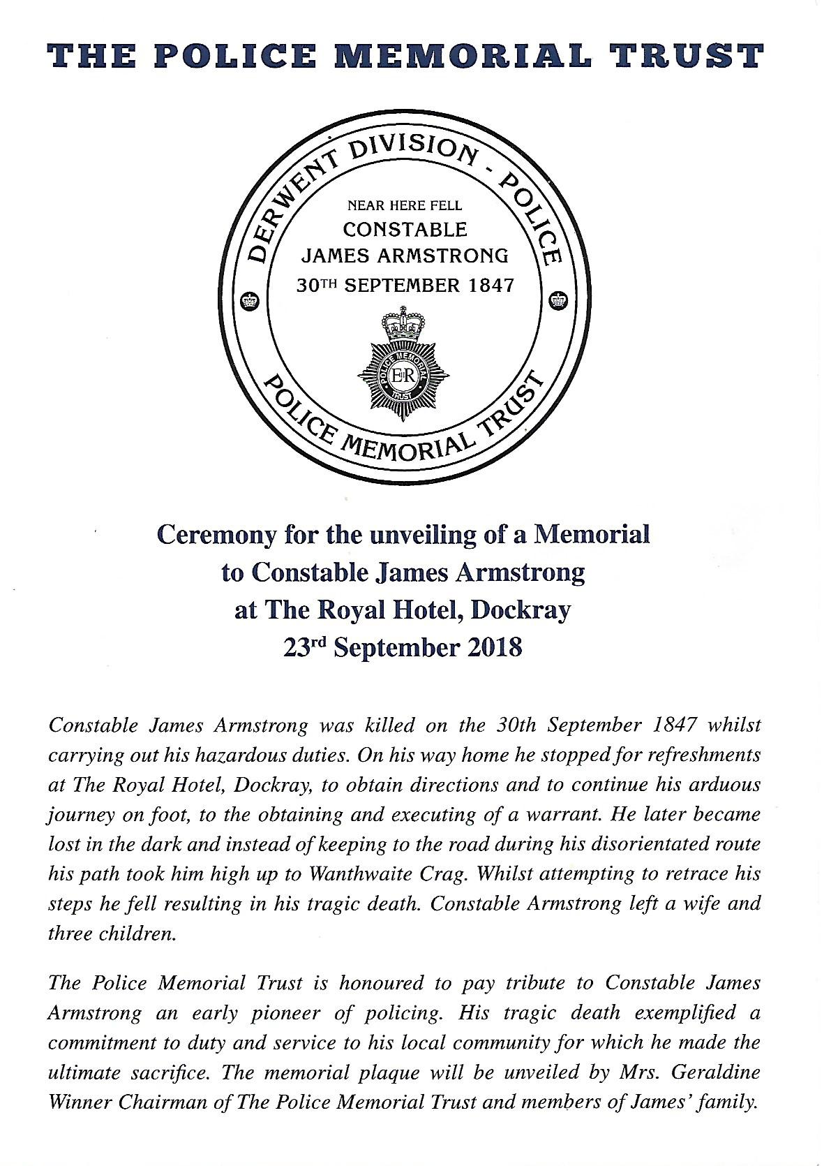 Ceremony for the unveiling of a Memorial to Constable James Armstrong programme 1