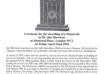 DC Jim Morrison QGM Memorial Programme 1