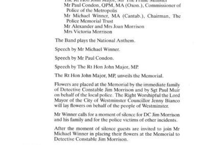 DC Jim Morrison QGM Memorial Programme 2