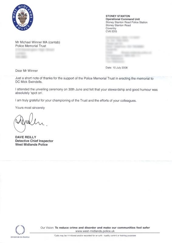 DC Michael Swindells QGM Letter 2