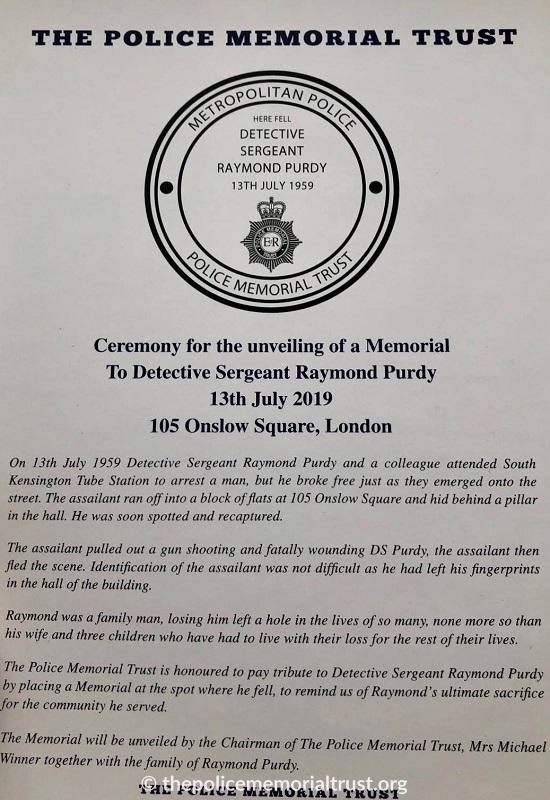 Detective Sergeant Raymond Purdy Unveiling Programme