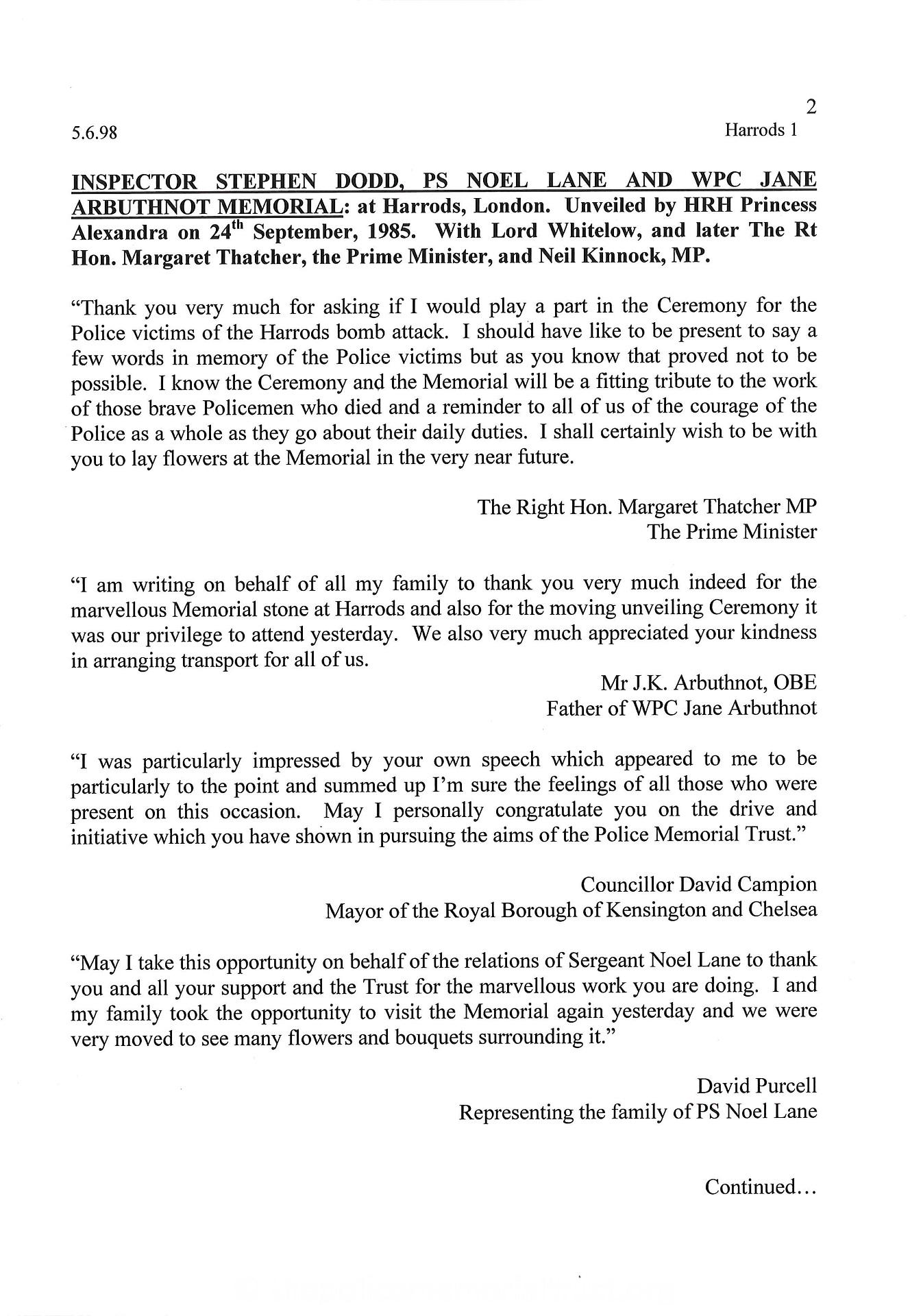 Dodd Lane Arbuthnot Letter 1