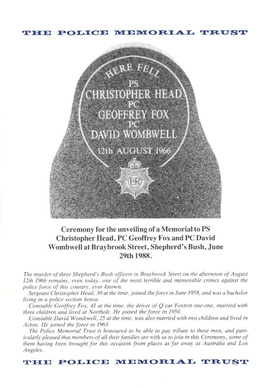 Fox Head Wombwell Memorial Programme 1