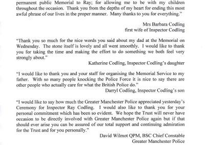 Inspector Raymond Codling Letter