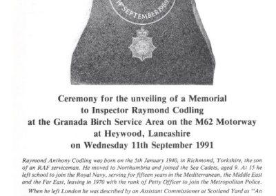 Inspector Raymond Codling Memorial Programme 1