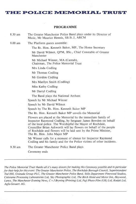 Inspector Raymond Codling Memorial Programme 2