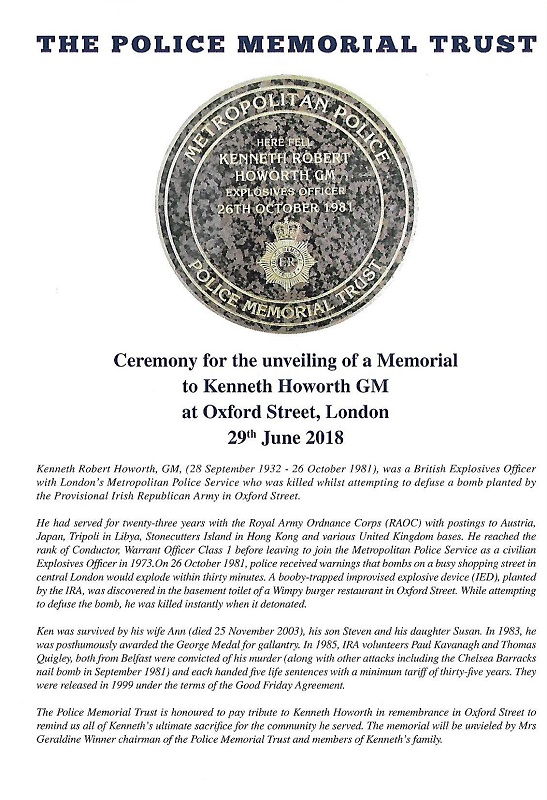 Kenneth Howorth GM Memorial Programme 1
