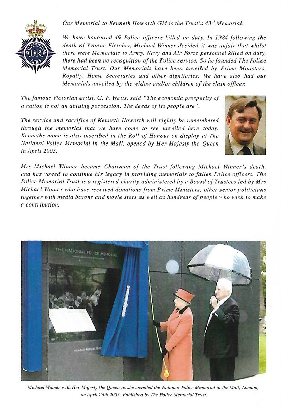 Kenneth Howorth GM Memorial Programme 2