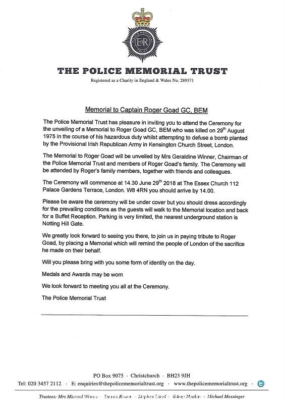 Memorial to Captain Roger Goad Invitation Letter