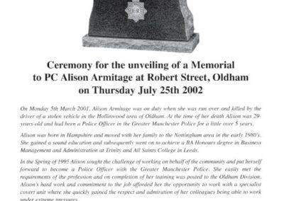 PC Alison Armitage Memorial Programme 1