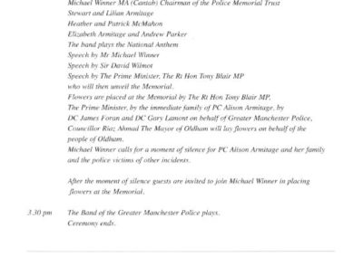 PC Alison Armitage Memorial Programme 2
