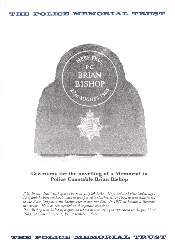 PC Brian Bishop Memorial Programme 1