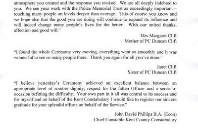 PC Duncan Clift Letter