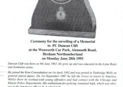PC Duncan Clift Memorial Programme 1