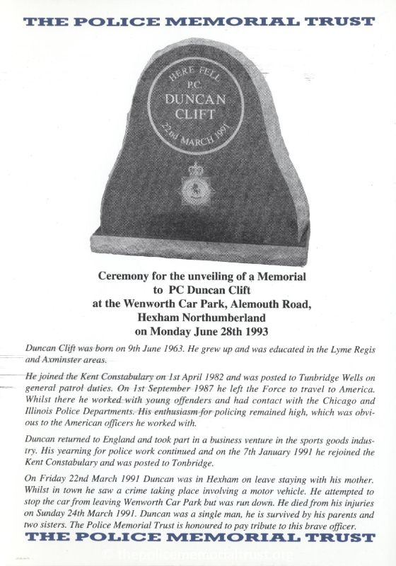 PC Duncan Clift Memorial Programme 1