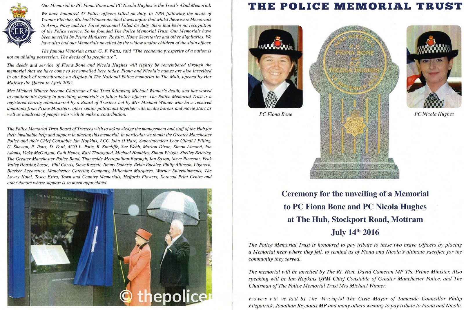 PC Fiona Bone PC Nicola Hughes Ceremony Programme