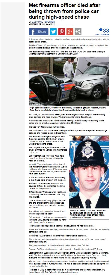 PC Gary Toms Daily Mail News Article