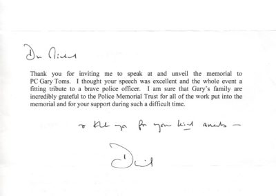 PC Gary Toms Downing Street Letter