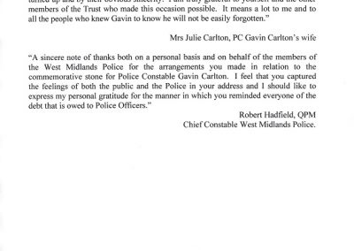 PC Gavin Carlton Letter
