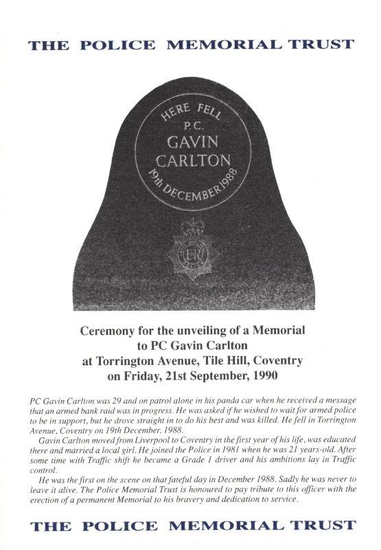 PC Gavin Carlton Memorial Programme 1