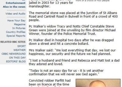 PC Ged Walker BBC News Article