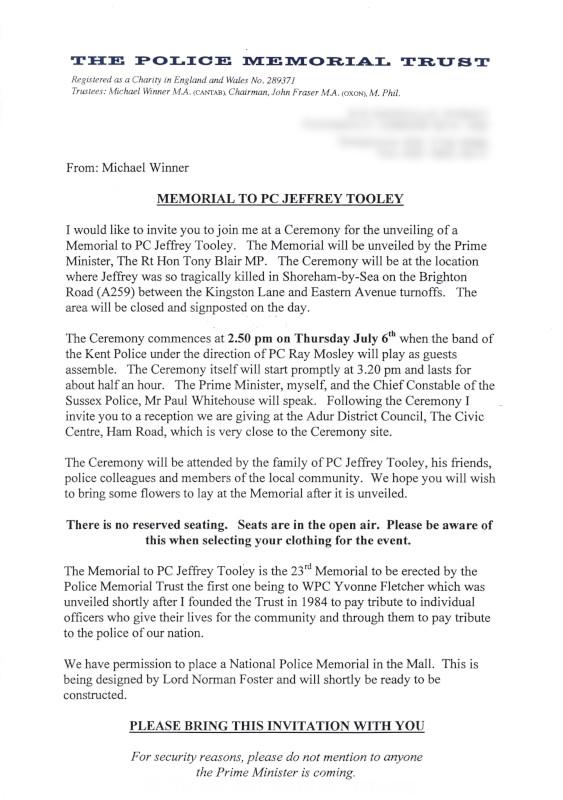 PC Jeffrey Tooley Memorial Invitation Letter