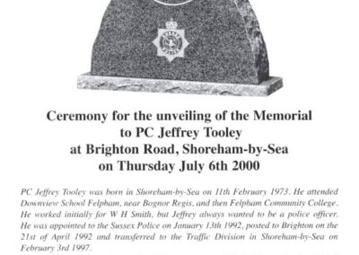 PC Jeffrey Tooley Memorial Programme 1
