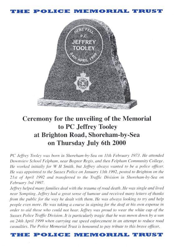 PC Jeffrey Tooley Memorial Programme 1