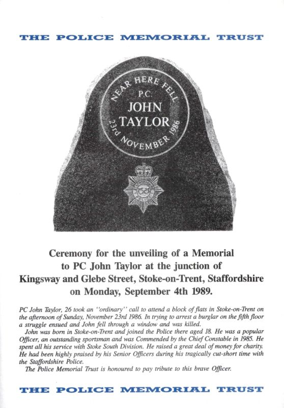 PC John Taylor Memorial Programme 1