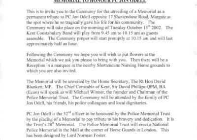 PC Jon Odell Memorial Invitation