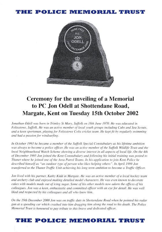 PC Jon Odell Memorial Programme 1