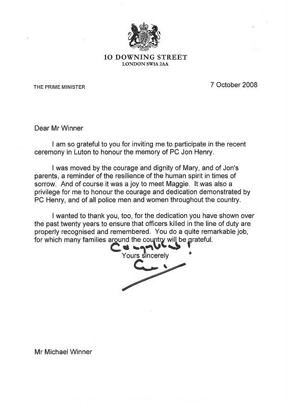 PC Jonathan Henry Downing Street Letter