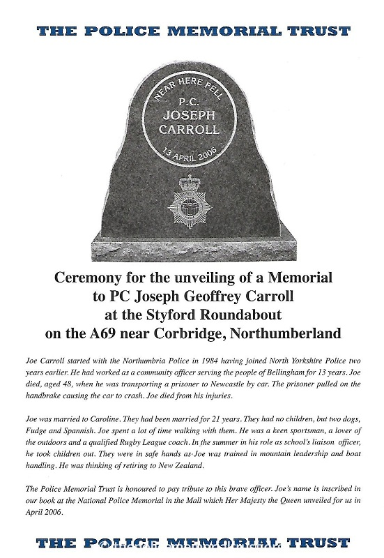 PC Joseph Carroll Memorial Programme 1