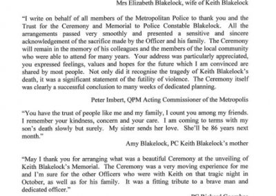 PC Keith Blakelock Letter 1