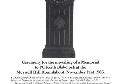 PC Keith Blakelock Memorial Programme 1