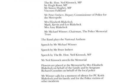 PC Keith Blakelock Memorial Programme 2