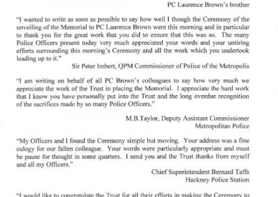PC Laurence Brown Letter 1