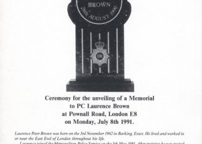 PC Laurence Brown Memorial Programme 1
