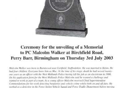 PC Malcolm Walker Memorial Programme 1