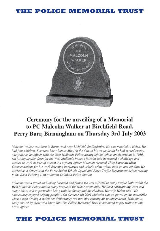 PC Malcolm Walker Memorial Programme 1