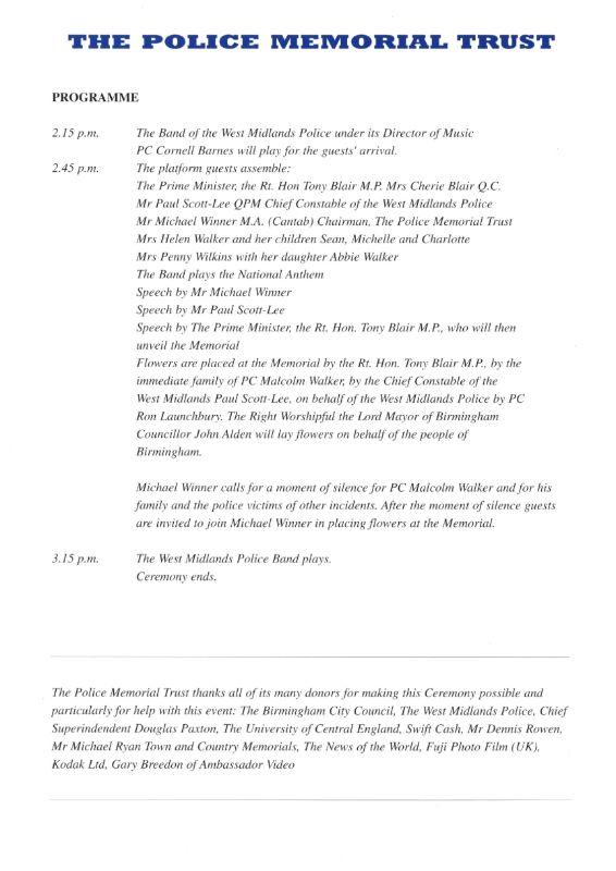 PC Malcolm Walker Memorial Programme 2