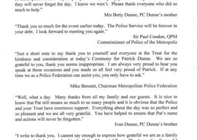 PC Patrick Dunne Letter