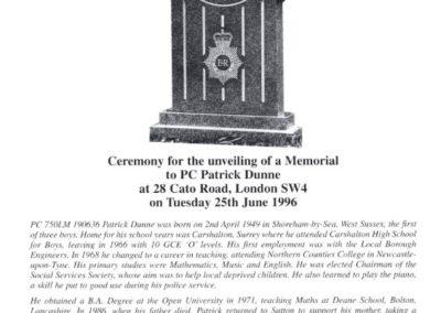 PC Patrick Dunne Memorial Programme 1