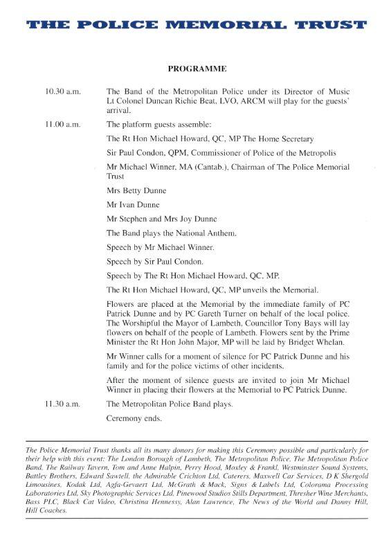 PC Patrick Dunne Memorial Programme 2